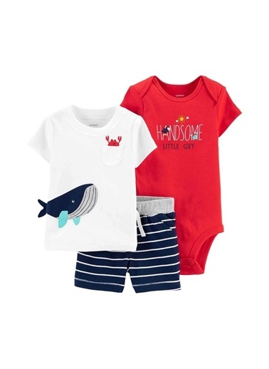 Carters Carter'S Balina 3'Lü Şortlu Bebek Takımı Beyaz